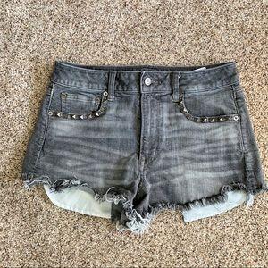 AEO Vintage Hi-Rise Festival Gray Shorts